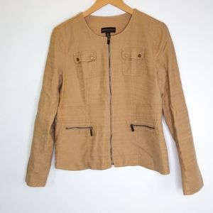 Dana Buchman Brown Zip Utility Jacket Sz 8